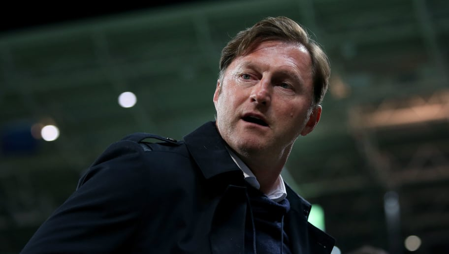 LEIPZIG, GERMANY - APRIL 05: Head coach Ralph Hasenhuettl of RB Leipzig enters the pitch prior to the UEFA Europa League quarter final leg one match between RB Leipzig and Olympique Marseille at the Red Bull Arena on April 5, 2018 in Leipzig, Germany. (Photo by Ronny Hartmann/Bongarts/Getty Images)
