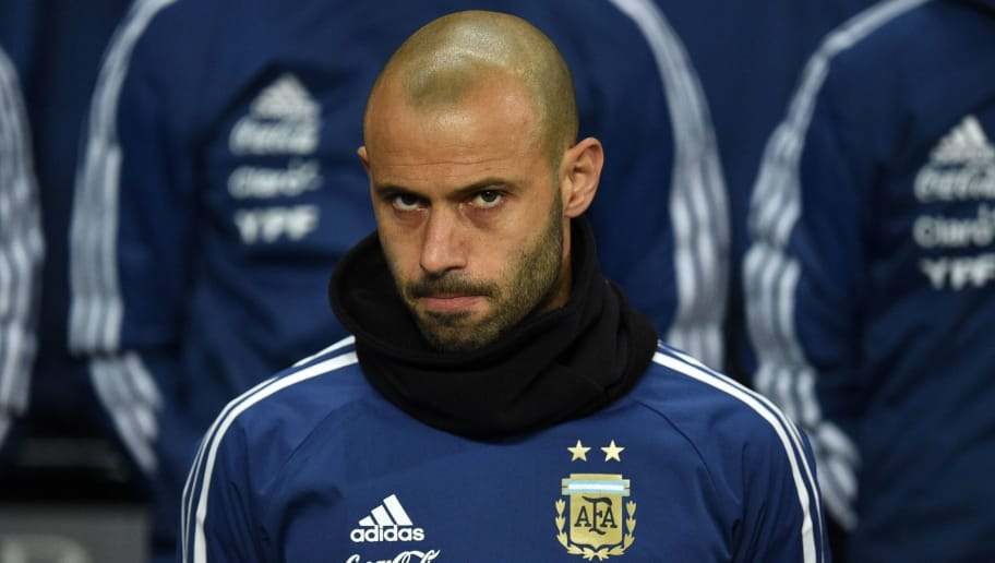 Argentina's defender Javier Mascherano awaits kick off in the International friendly football match between Argentina and Italy at the Etihad stadium in Manchester, north west England on March 23, 2018. / AFP PHOTO / Oli SCARFF        (Photo credit should read OLI SCARFF/AFP/Getty Images)