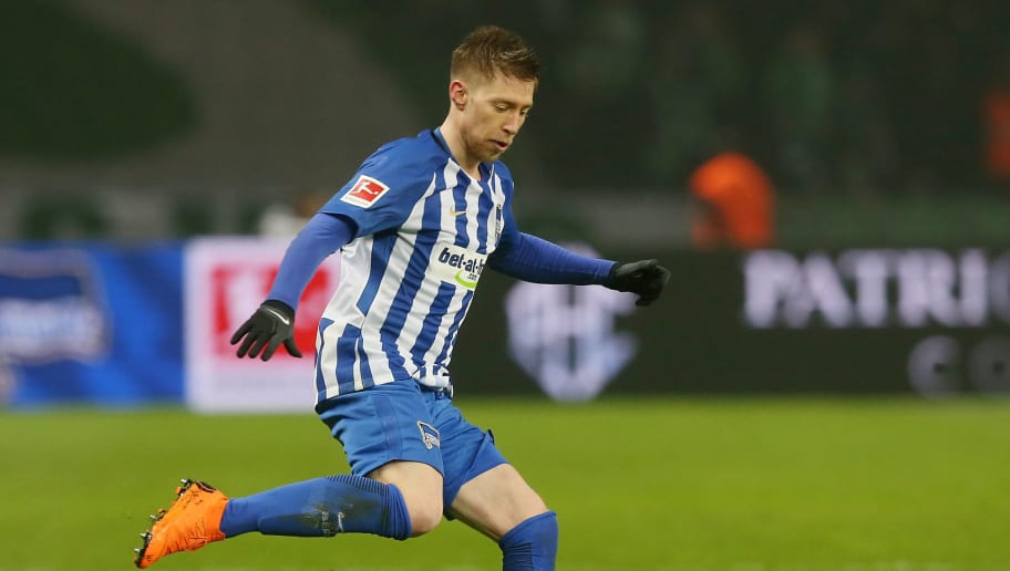 BERLIN, GERMANY - MARCH 31:  Mitchell Weiser of Berlin runs with the ball during the Bundesliga match between Hertha BSC and VFL Wolfsburg at Olympiastadion on March 31, 2018 in Berlin, Germany.  (Photo by Matthias Kern/Bongarts/Getty Images)
