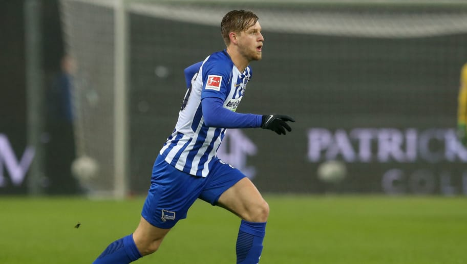 BERLIN, GERMANY - MARCH 31:  Arne Maier of Berlin runs with the ball during the Bundesliga match between Hertha BSC and VFL Wolfsburg at Olympiastadion on March 31, 2018 in Berlin, Germany.  (Photo by Matthias Kern/Bongarts/Getty Images)