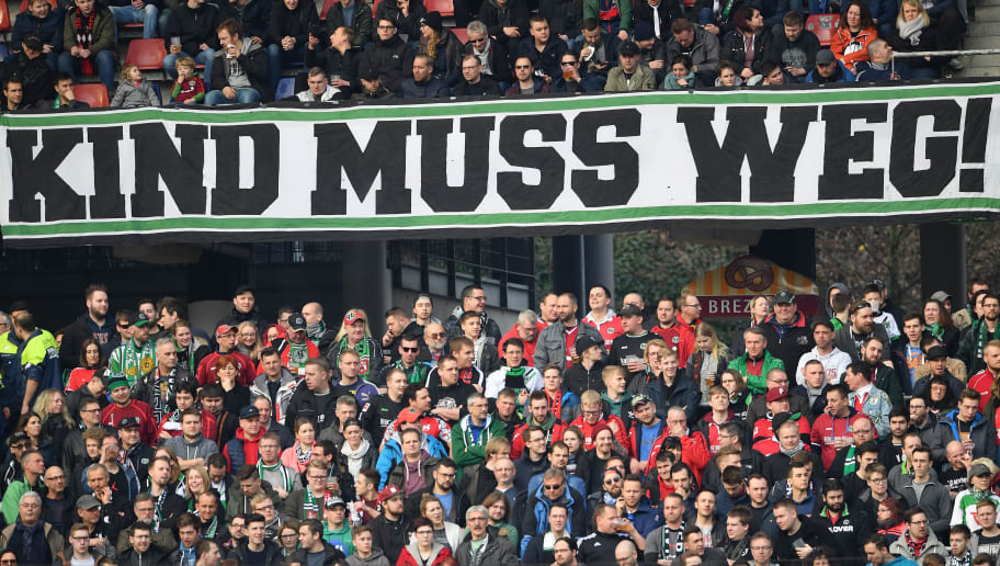 HANOVER, GERMANY - MARCH 10:  Fans of Hannover holder their banners during the Bundesliga match between Hannover 96 and FC Augsburg at HDI-Arena on March 10, 2018 in Hanover, Germany.  (Photo by Stuart Franklin/Bongarts/Getty Images)