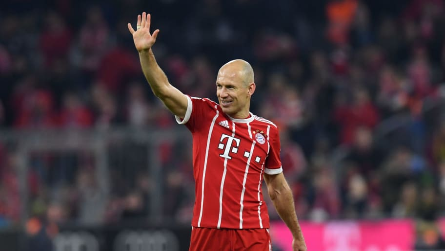 Bayern Munich's Dutch midfielder Arjen Robben waves at the end of the German first division Bundesliga football match FC Bayern Munich vs Borussia Dortmund in Munich, southern Germany, on March 31, 2018.  / AFP PHOTO / Christof STACHE / RESTRICTIONS: DURING MATCH TIME: DFL RULES TO LIMIT THE ONLINE USAGE TO 15 PICTURES PER MATCH AND FORBID IMAGE SEQUENCES TO SIMULATE VIDEO. == RESTRICTED TO EDITORIAL USE == FOR FURTHER QUERIES PLEASE CONTACT DFL DIRECTLY AT + 49 69 650050         (Photo credit should read CHRISTOF STACHE/AFP/Getty Images)