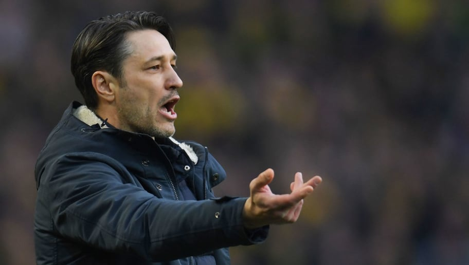 Frankfurt's Croatian head coach Niko Kovac reacts during the German first division Bundesliga football match Borussia Dortmund vs Eintracht Frankfurt, in Dortmund, western Germany, on March 11, 2018. / AFP PHOTO / Patrik STOLLARZ / RESTRICTIONS: DURING MATCH TIME: DFL RULES TO LIMIT THE ONLINE USAGE TO 15 PICTURES PER MATCH AND FORBID IMAGE SEQUENCES TO SIMULATE VIDEO. == RESTRICTED TO EDITORIAL USE == FOR FURTHER QUERIES PLEASE CONTACT DFL DIRECTLY AT + 49 69 650050         (Photo credit should read PATRIK STOLLARZ/AFP/Getty Images)