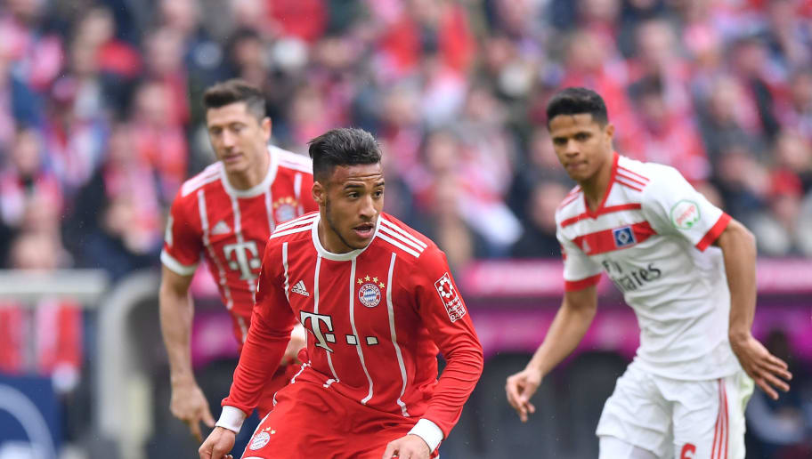 MUNICH, GERMANY - MARCH 10: Corentin Tolisso of Bayern Muenchen plays the ball during the Bundesliga match between FC Bayern Muenchen and Hamburger SV at Allianz Arena on March 10, 2018 in Munich, Germany. (Photo by Sebastian Widmann/Bongarts/Getty Images)