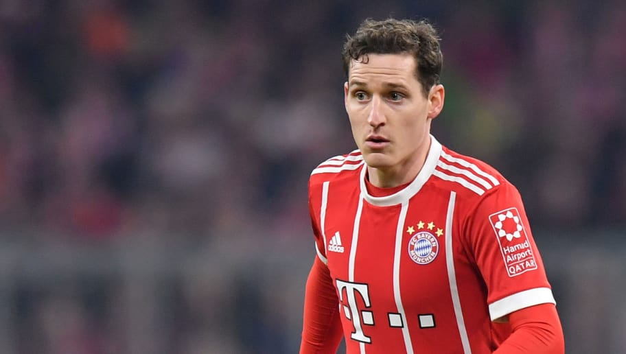 MUNICH, GERMANY - MARCH 31: Sebastian Rudy of Bayern Muenchen plays the ball during the Bundesliga match between FC Bayern Muenchen and Borussia Dortmund at Allianz Arena on March 31, 2018 in Munich, Germany. (Photo by Sebastian Widmann/Bongarts/Getty Images)