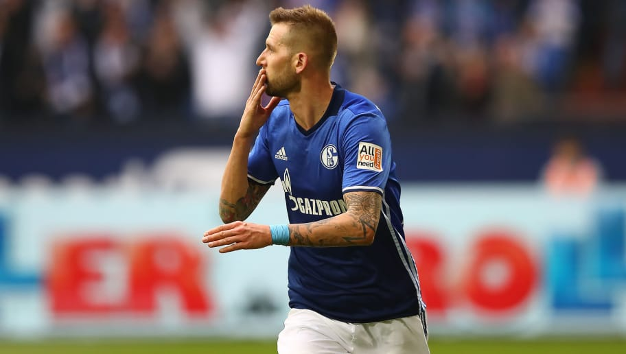 GELSENKIRCHEN, GERMANY - MARCH 31: Guido Burgstaller of Schalke celebrates after he scored a goal to make it 2:0 during the Bundesliga match between FC Schalke 04 and Sport-Club Freiburg at Veltins-Arena on March 31, 2018 in Gelsenkirchen, Germany. (Photo by Martin Rose/Bongarts/Getty Images)