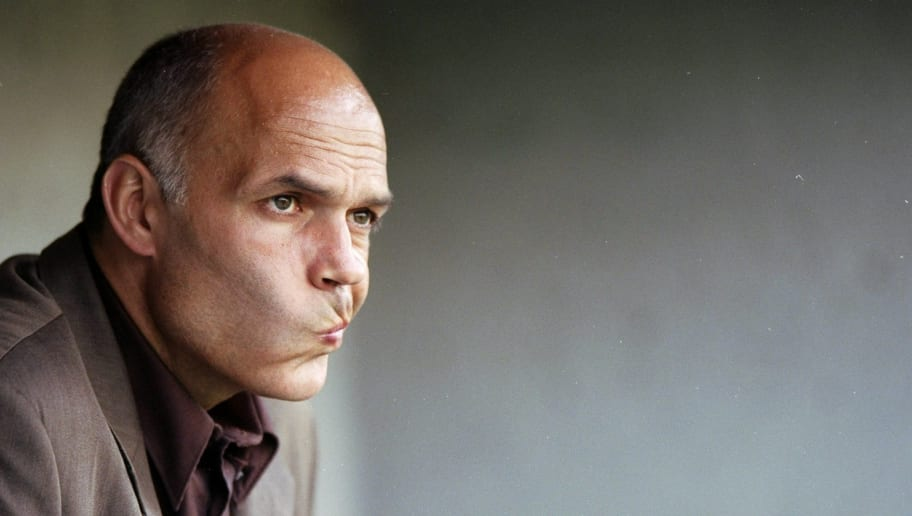 11 Aug 1998:  Portrait of Tottenham Hotspur manager Christian Gross in the dug-out during the pre-season friendly against St Albans at Clarence Park in St Albans, England.  \ Mandatory Credit: Shaun Botterill /Allsport