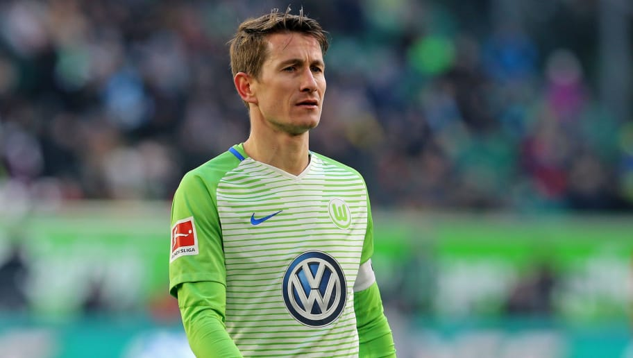 WOLFSBURG, GERMANY - MARCH 03:  Paul Verhaegh of Wolfsburg looks on during the Bundesliga match between VfL Wolfsburg and Bayer 04 Leverkusen at Volkswagen Arena on March 3, 2018 in Wolfsburg, Germany. (Photo by Matthias Kern/Bongarts/Getty Images)