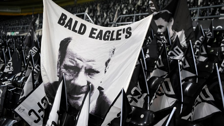 DERBY, ENGLAND - JANUARY 27:  Former footballer and Manager, Jim Smith is seen on a Flag prior to The Emirates FA Cup Fourth Round match between Derby County and Leicester City at iPro Stadium on January 27, 2017 in Derby, England.  (Photo by Shaun Botterill/Getty Images)