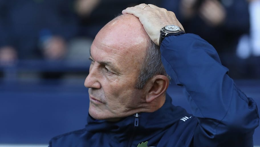 WEST BROMWICH, ENGLAND - OCTOBER 28:  Tony Puls, manager of West Bromwich Albion looks on  during the Premier League match between West Bromwich Albion and Manchester City at The Hawthorns on October 28, 2017 in West Bromwich, England.  (Photo by Matthew Lewis/Getty Images)
