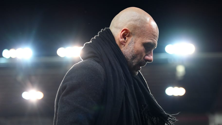 STOKE ON TRENT, ENGLAND - MARCH 12:  Josep Guardiola, Manager of Manchester City looks on prior to the Premier League match between Stoke City and Manchester City at Bet365 Stadium on March 12, 2018 in Stoke on Trent, England.  (Photo by Michael Regan/Getty Images)