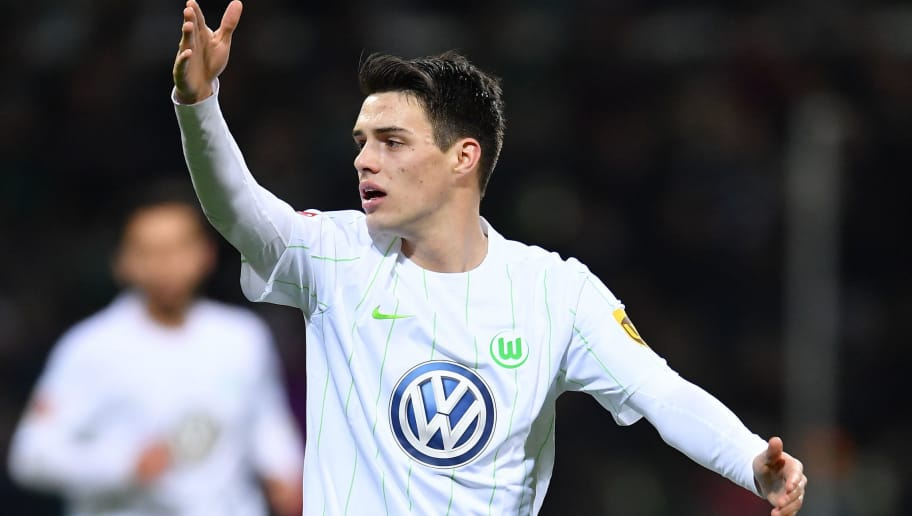 BREMEN, GERMANY - FEBRUARY 11:  Josip Brekalo of Wolfsburg gestures during the Bundesliga match between SV Werder Bremen and VfL Wolfsburg at Weserstadion on February 11, 2018 in Bremen, Germany.  (Photo by Stuart Franklin/Bongarts/Getty Images)