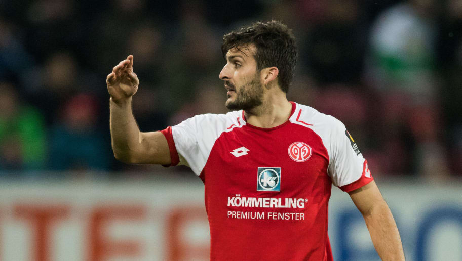 MAINZ, GERMANY - APRIL 01: Giulio Donati of Mainz reacts during the Bundesliga match between 1. FSV Mainz 05 and Borussia Moenchengladbach at Opel Arena on April 1, 2018 in Mainz, Germany. (Photo by Simon Hofmann/Bongarts/Getty Images)