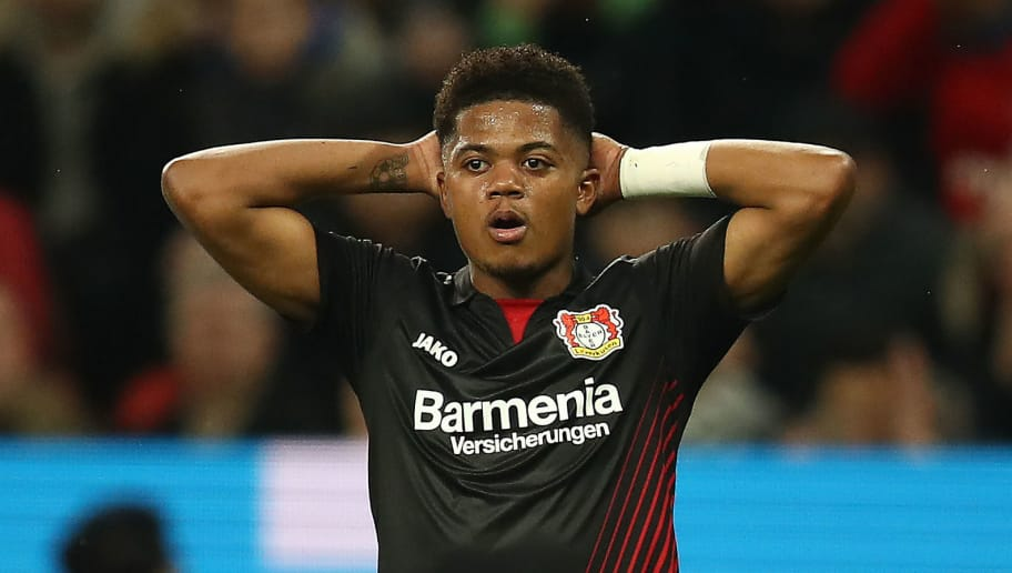 LEVERKUSEN, GERMANY - MARCH 10: Leon Bailey of Bayer Leverkusen reacts during the Bundesliga match between Bayer 04 Leverkusen and Borussia Moenchengladbach at BayArena on March 10, 2018 in Leverkusen, Germany. (Photo by Maja Hitij/Bongarts/Getty Images)
