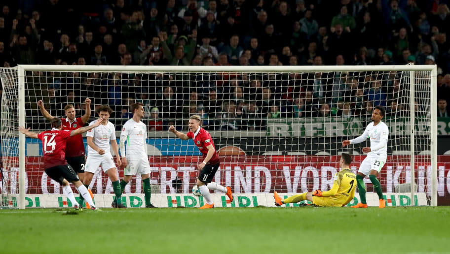 HANOVER, GERMANY - APRIL 06:  Felix Klaus #11 of Hannover celebrates after he scores the 2nd goal during the Bundesliga match between Hannover 96 and SV Werder Bremen at HDI-Arena on April 6, 2018 in Hanover, Germany.  (Photo by Martin Rose/Bongarts/Getty Images)
