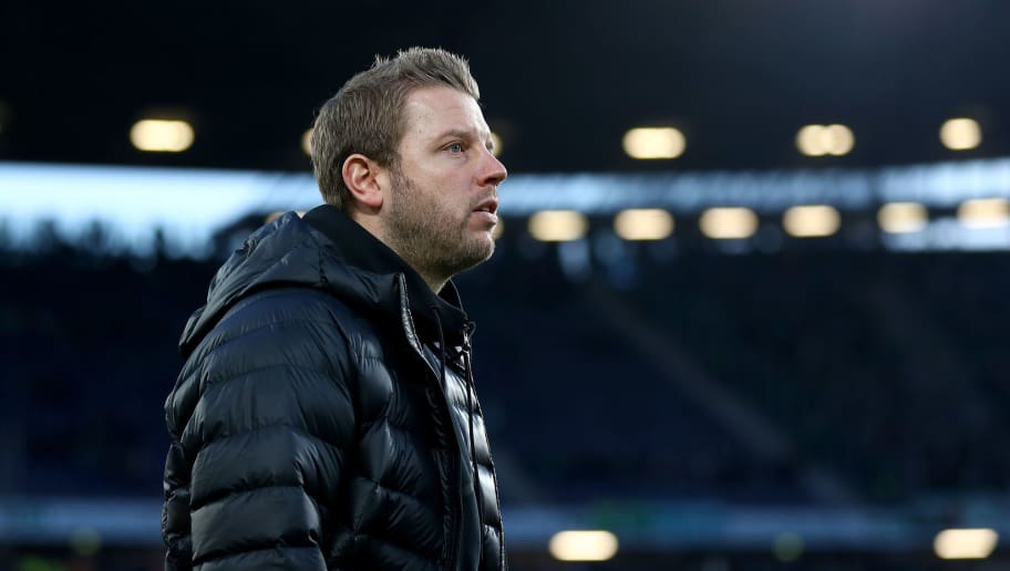 HANOVER, GERMANY - APRIL 06:  Florian Kohfeldt, head coach of Bremen looks on before the Bundesliga match between Hannover 96 and SV Werder Bremen at HDI-Arena on April 6, 2018 in Hanover, Germany.  (Photo by Martin Rose/Bongarts/Getty Images)