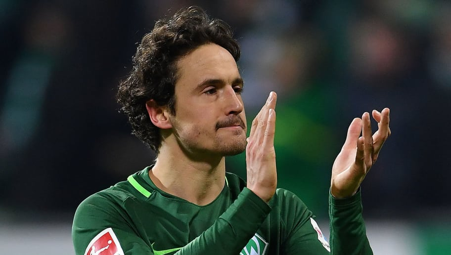 BREMEN, GERMANY - FEBRUARY 24: Thomas Delaney of Bremen celebrates after the Bundesliga match between SV Werder Bremen and Hamburger SV at Weserstadion on February 24, 2018 in Bremen, Germany. (Photo by Stuart Franklin/Bongarts/Getty Images)