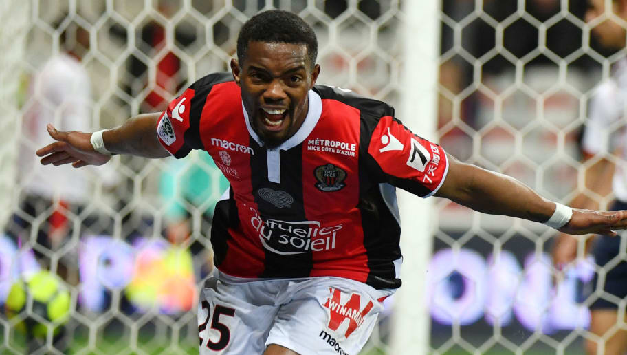 Nice's French midfielder Wylan Cyprien celebrates after scoring a goal during the French L1 football match Nice (OGCN) vs Lille (LOSC) on March 2, 2018 at Allianz Riviera Stadium in Nice.  / AFP PHOTO / YANN COATSALIOU        (Photo credit should read YANN COATSALIOU/AFP/Getty Images)