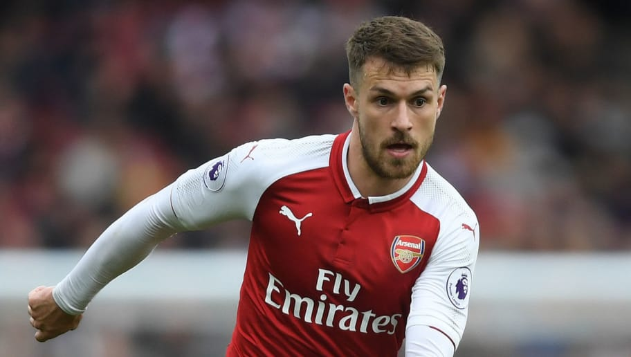 LONDON, ENGLAND - APRIL 01:  Aaron Ramsey of Arsenal in action during the Premier League match between Arsenal and Stoke City at Emirates Stadium on April 1, 2018 in London, England.  (Photo by Mike Hewitt/Getty Images)