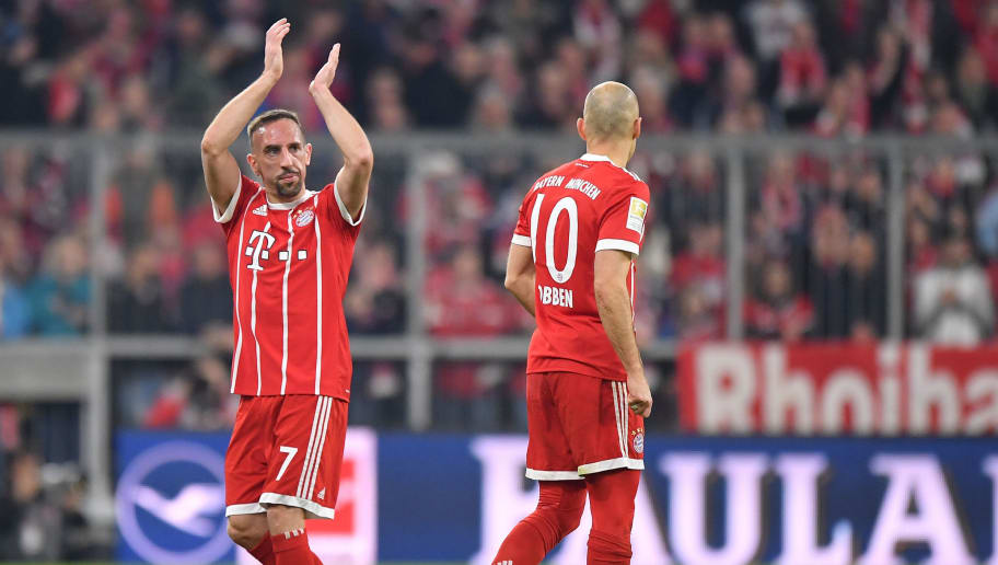 MUNICH, GERMANY - MARCH 31: Franck Ribery of Bayern Muenchen applauds towards the supporters during the Bundesliga match between FC Bayern Muenchen and Borussia Dortmund at Allianz Arena on March 31, 2018 in Munich, Germany. (Photo by Sebastian Widmann/Bongarts/Getty Images)