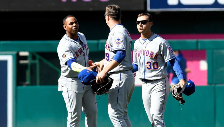 WASHINGTON, DC - APRIL 05: Yoenis Cespedes #52, Jay Bruce #19 and Michael Conforto #30 of the New York Mets celebrate after a 8-2 victory against the Washington Nationals during the home opener at Nationals Park on April 5, 2018 in Washington, DC.  (Photo by Greg Fiume/Getty Images)