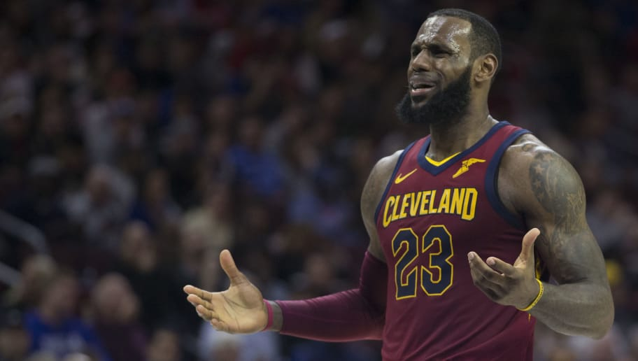 PHILADELPHIA, PA - APRIL 6: LeBron James #23 of the Cleveland Cavaliers reacts in the third quarter against the Philadelphia 76ers at the Wells Fargo Center on April 6, 2018 in Philadelphia, Pennsylvania. The 76ers defeated the Cavaliers 132-130. NOTE TO USER: User expressly acknowledges and agrees that, by downloading and or using this photograph, User is consenting to the terms and conditions of the Getty Images License Agreement. (Photo by Mitchell Leff/Getty Images)