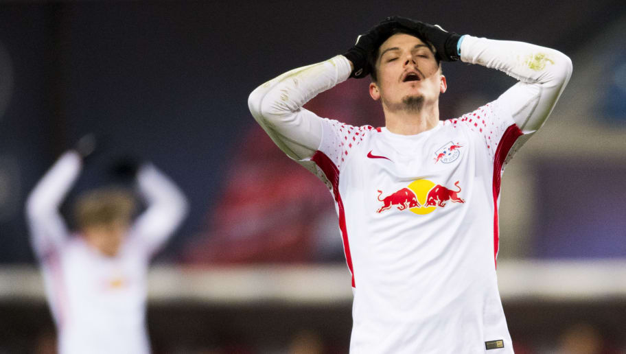 Leipzig´s Austrian forward Marcel Sabitzer reacts during the German first division Bundesliga football match RB Leipzig vs FC Cologne in Leipzig, eastern Germany, on February 25, 2018. / AFP PHOTO / ROBERT MICHAEL / RESTRICTIONS: DURING MATCH TIME: DFL RULES TO LIMIT THE ONLINE USAGE TO 15 PICTURES PER MATCH AND FORBID IMAGE SEQUENCES TO SIMULATE VIDEO. == RESTRICTED TO EDITORIAL USE == FOR FURTHER QUERIES PLEASE CONTACT DFL DIRECTLY AT + 49 69 650050         (Photo credit should read ROBERT MICHAEL/AFP/Getty Images)