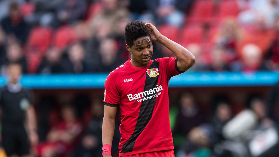 Leverkusen's Brazilian defender Wendell reacts during the German first division Bundesliga football match Bayer Leverkusen vs FC Augsburg in Leverkusen, western Germany, on March 31, 2018. / AFP PHOTO / dpa / Marius Becker / Germany OUT        (Photo credit should read MARIUS BECKER/AFP/Getty Images)
