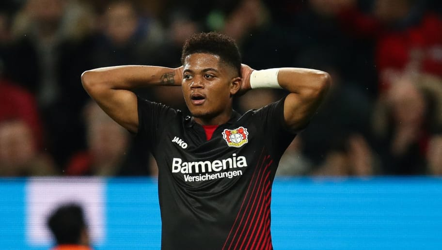 LEVERKUSEN, GERMANY - MARCH 10: Leon Bailey #9 of Bayer Leverkusen reacts during the Bundesliga match between Bayer 04 Leverkusen and Borussia Moenchengladbach at BayArena on March 10, 2018 in Leverkusen, Germany. (Photo by Maja Hitij/Bongarts/Getty Images)