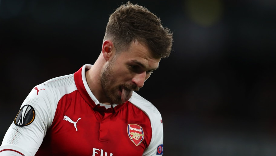 LONDON, ENGLAND - APRIL 05: Aaron Ramsey of Arsenal reacts during the UEFA Europa League quarter final leg one match between Arsenal FC and CSKA Moskva at Emirates Stadium on April 5, 2018 in London, United Kingdom. (Photo by Catherine Ivill/Getty Images)
