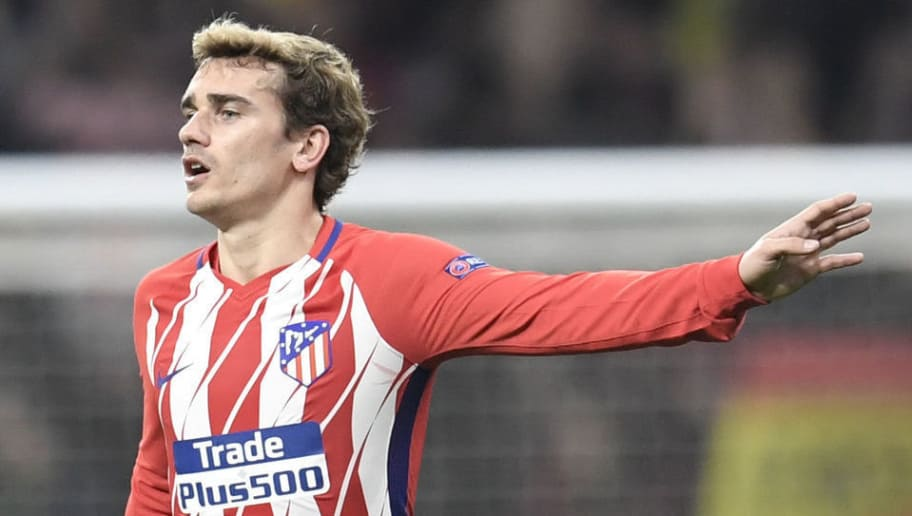 Atletico Madrid's French forward Antoine Griezmann gestures during the UEFA Europa League quarter-final first leg football match between Club Atletico de Madrid and Sporting CP at the Wanda Metropolitano Stadium in Madrid on April 5, 2018. / AFP PHOTO / GABRIEL BOUYS        (Photo credit should read GABRIEL BOUYS/AFP/Getty Images)