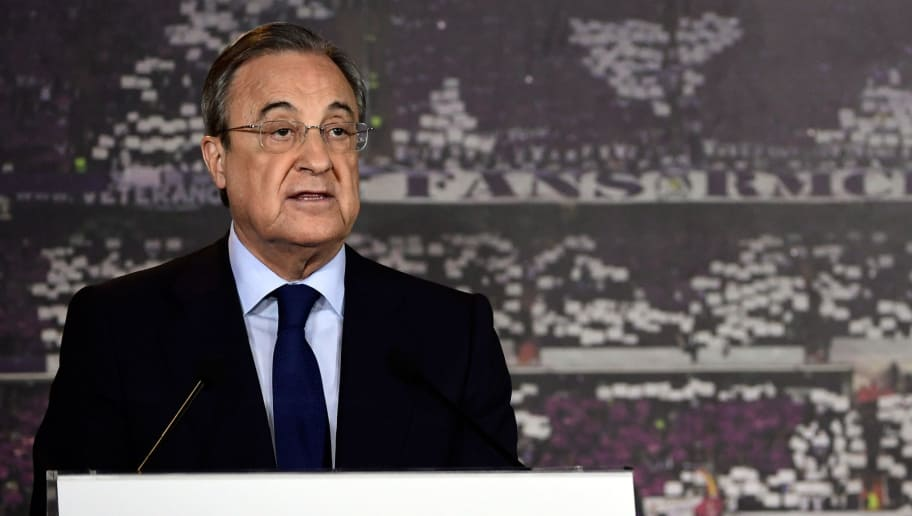 Real Madrid president, Florentino Perez, speaks during a press conference after his re-election for the club's presidency at the Santiago Bernabeu stadium in Madrid, on June 19, 2017. Florentino Perez will remain as president of Real Madrid until 2021 after no other candidates ran against him, the Spanish and European champions announced. / AFP PHOTO / JAVIER SORIANO        (Photo credit should read JAVIER SORIANO/AFP/Getty Images)
