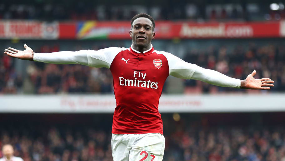 LONDON, ENGLAND - APRIL 08:  Danny Welbeck of Arsenal celebrates scoring his sides second goal during the Premier League match between Arsenal and Southampton at Emirates Stadium on April 8, 2018 in London, England.  (Photo by Julian Finney/Getty Images)