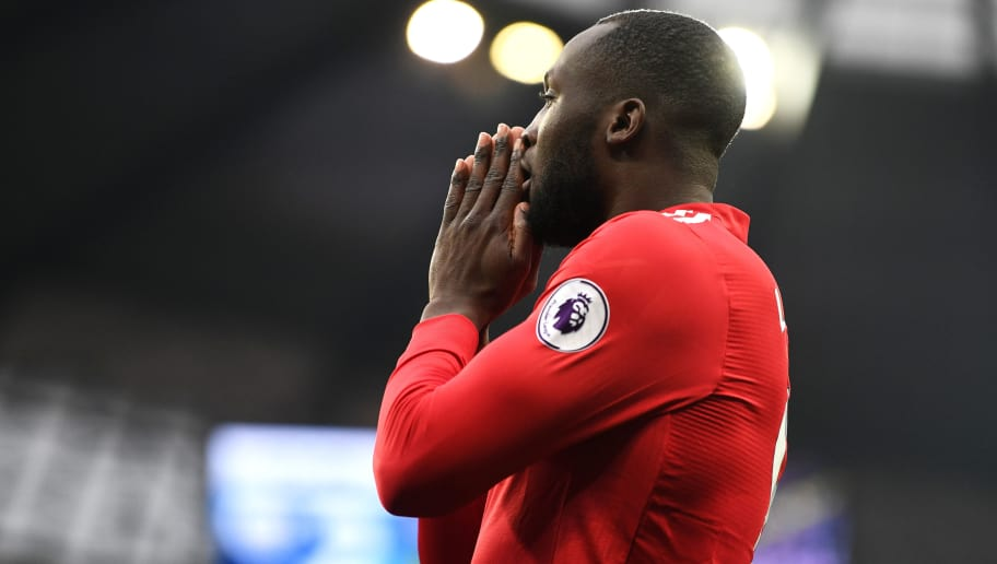 MANCHESTER, ENGLAND - APRIL 07:  Romelu Lukaku of Manchester United reacts during the Premier League match between Manchester City and Manchester United at Etihad Stadium on April 7, 2018 in Manchester, England.  (Photo by Michael Regan/Getty Images)