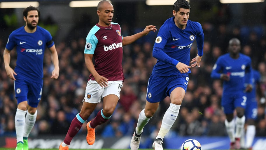 LONDON, ENGLAND - APRIL 08:  Alvaro Morata of Chelsea and Joao Mario of West Ham United in action during the Premier League match between Chelsea and West Ham United at Stamford Bridge on April 8, 2018 in London, England.  (Photo by Shaun Botterill/Getty Images)