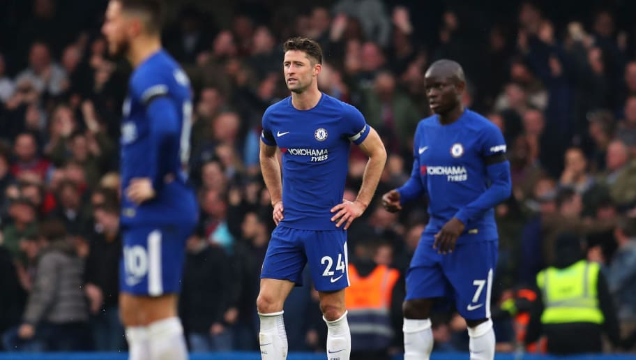 LONDON, ENGLAND - APRIL 08:  Gary Cahill of Chelsea looks dejected during the Premier League match between Chelsea and West Ham United at Stamford Bridge on April 8, 2018 in London, England.  (Photo by Catherine Ivill/Getty Images)