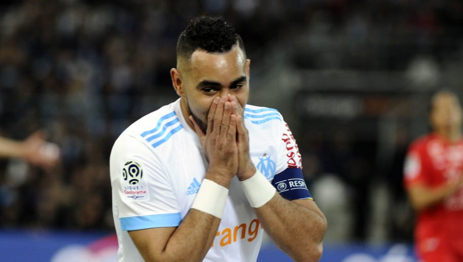 Marseille's French forward Dimitri Payet gestures during the French L1 football match between Marseille (OM) and Montpellier (MHSC) on April 8, 2018, at the Velodrome stadium in Marseille, southern France. / AFP PHOTO / Franck PENNANT        (Photo credit should read FRANCK PENNANT/AFP/Getty Images)