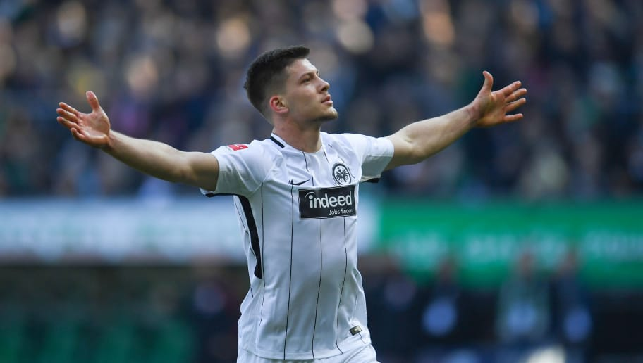 Frankfurt's Serbian forward Luka Jovic celebrates after scoring during the German first division Bundesliga football match Werder Bremen vs Eintracht Frankfurt, in Bremen, northern Germany, on April 1, 2018. / AFP PHOTO / Patrik STOLLARZ / RESTRICTIONS: DURING MATCH TIME: DFL RULES TO LIMIT THE ONLINE USAGE TO 15 PICTURES PER MATCH AND FORBID IMAGE SEQUENCES TO SIMULATE VIDEO. == RESTRICTED TO EDITORIAL USE == FOR FURTHER QUERIES PLEASE CONTACT DFL DIRECTLY AT + 49 69 650050         (Photo credit should read PATRIK STOLLARZ/AFP/Getty Images)