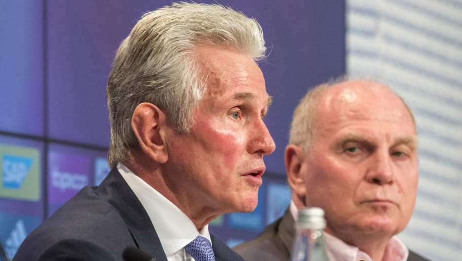 MUNICH, GERMANY - OCTOBER 09: (L-R) Karl-Heinz Rummenigge, Jupp Heynckes and Uli Hoeness speak to the media during a Bayern Muenchen press conference at the Alianz Arena in Munich on October 9, 2017 in Munich, Germany. (Photo by Jan Hetfleisch/Bongarts/Getty Images)