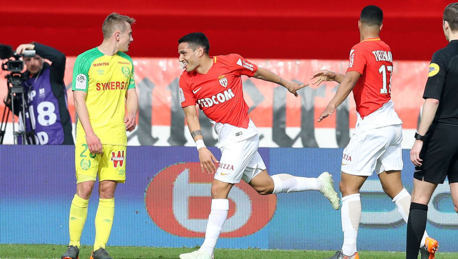 Monaco's Brazilian midfielder Rony Lopes (C) celebrates after scoring a goal during the French L1 football match Monaco vs Nantes on April 7, 2018 at the 'Louis II Stadium' in Monaco.   / AFP PHOTO / VALERY HACHE        (Photo credit should read VALERY HACHE/AFP/Getty Images)
