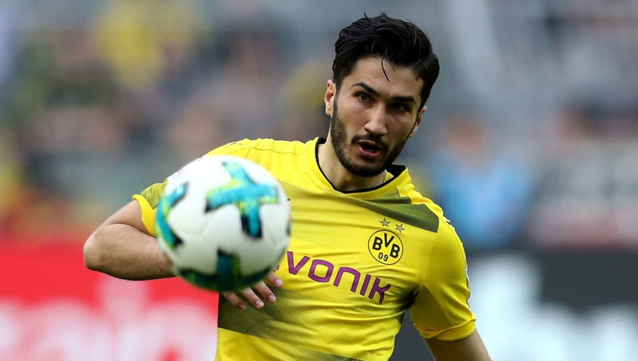 DORTMUND, GERMANY - APRIL 08: Nuri Sahin of Dortmund runs with the ball during the Bundesliga match between Borussia Dortmund and VfB Stuttgart at Signal Iduna Park on April 8, 2018 in Dortmund, Germany. The match between Dortmund and Stuttgart ended 3-0. (Photo by Christof Koepsel/Bongarts/Getty Images)