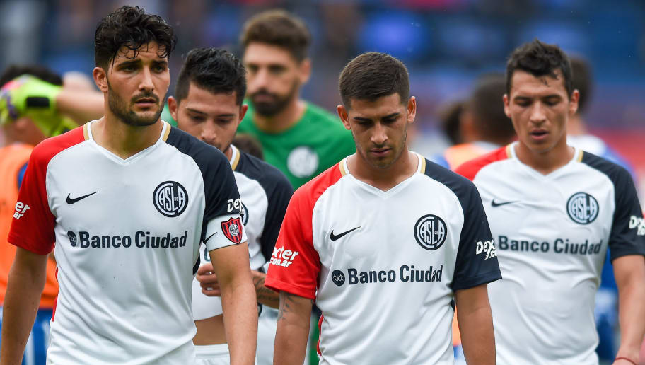 BUENOS AIRES, ARGENTINA - APRIL 08: Nicolas Blandi and Franco Moyano of San Lorenzo leave the field after losing a match between San Lorenzo and Godoy Cruz as part of Argentine Superliga 2017/18 at Pedro Bidegain Stadium on April 8, 2018 in Buenos Aires, Argentina. (Photo by Marcelo Endelli/Getty Images)