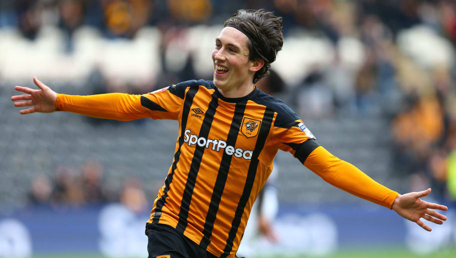 HULL, ENGLAND - APRIL 07: Harry Wilson of Hull City celebrates scoring during the Sky Bet Championship match between Hull City and Queens Park Rangers at KCOM Stadium on April 7, 2018 in Hull, England. (Photo by Ashley Allen/Getty Images)