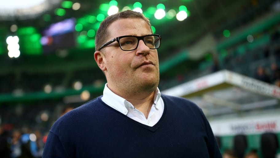 MOENCHENGLADBACH, GERMANY - APRIL 25: Max Eberl, sport director of Moenchengladbach looks on before the DFB Cup semi final match between Borussia Moenchengladbach and Eintracht Frankfurt at Borussia-Park on April 25, 2017 in Moenchengladbach, Germany.  (Photo by Maja Hitij/Bongarts/Getty Images)