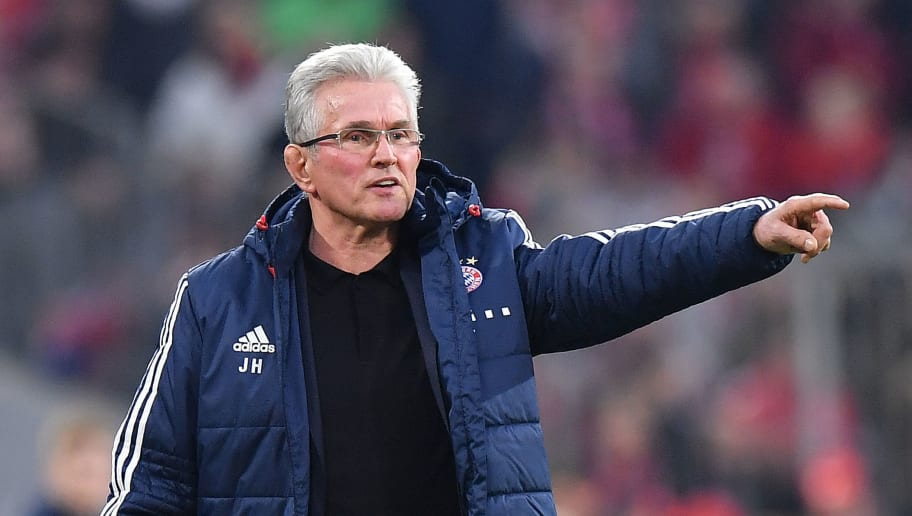 MUNICH, GERMANY - MARCH 31: Jupp Heynckes, head coach of Bayern Muechen, points during the Bundesliga match between FC Bayern Muenchen and Borussia Dortmund at Allianz Arena on March 31, 2018 in Munich, Germany. (Photo by Sebastian Widmann/Bongarts/Getty Images)