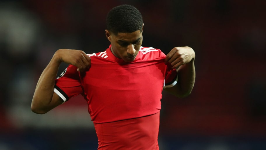 MANCHESTER, ENGLAND - MARCH 13:  Marcus Rashford of Manchester United looks dejected in defeat after the UEFA Champions League Round of 16 Second Leg match between Manchester United and Sevilla FC at Old Trafford on March 13, 2018 in Manchester, United Kingdom.  (Photo by Clive Mason/Getty Images)