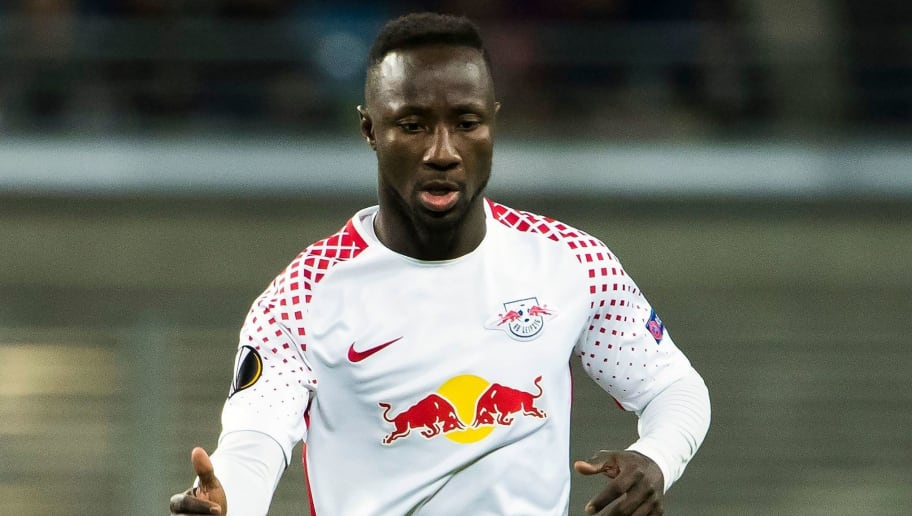 Leipzig's Guinean midfielder Naby Keita runs with the ball during the Europa League quarter final first leg football match RB Leipzig vs Olympique de Marseille (OM) at the Red Bull arena in Leipzig, eastern Germany, on April 5, 2018. / AFP PHOTO / Odd ANDERSEN        (Photo credit should read ODD ANDERSEN/AFP/Getty Images)