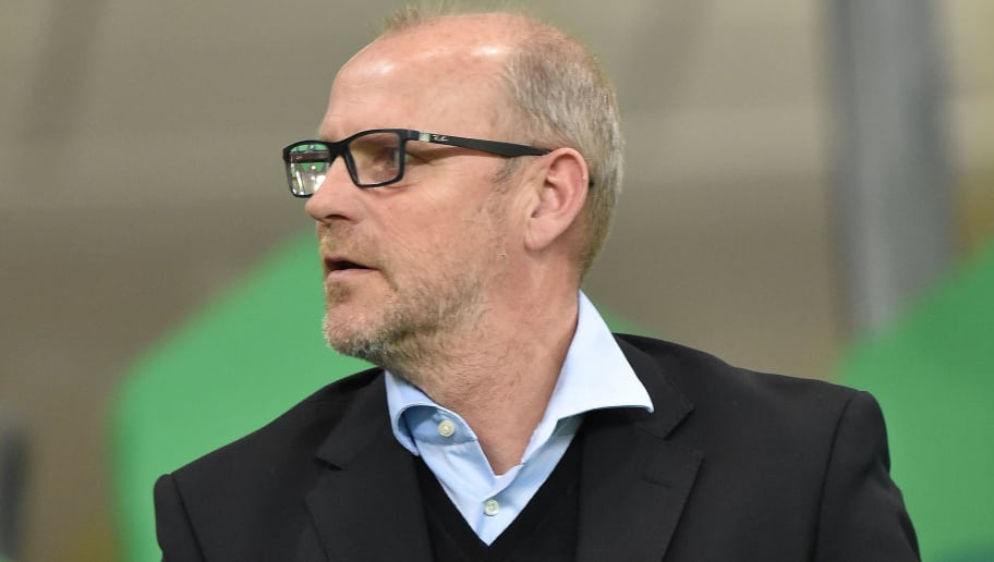 WOLFSBURG, GERMANY - APRIL 06:  Former Hannover 96 head coach Thomas Schaaf is seen on the stand prior to the UEFA Champions League Quarter Final First Leg match between VfL Wolfsburg and Real Madrid at Volkswagen Arena on April 6, 2016 in Wolfsburg, Germany.  (Photo by Stuart Franklin/Bongarts/Getty Images)