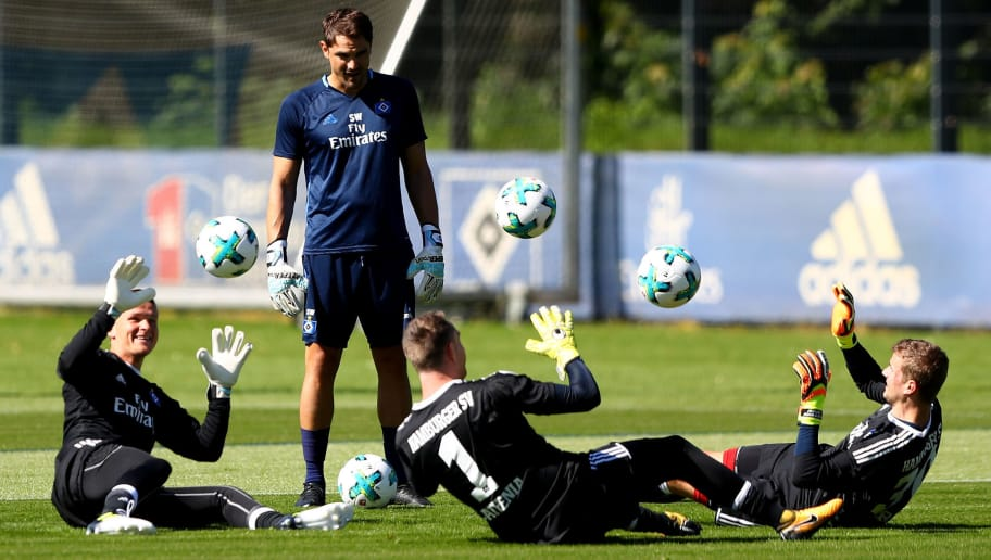 HAMBURG, GERMANY - JULY 09: Goalkeeper coach Stefan Waechter looks on during a training session of Hamburger SV at Volksparkstadion on July 9, 2017 in Hamburg, Germany.  (Photo by Martin Rose/Bongarts/Getty Images)