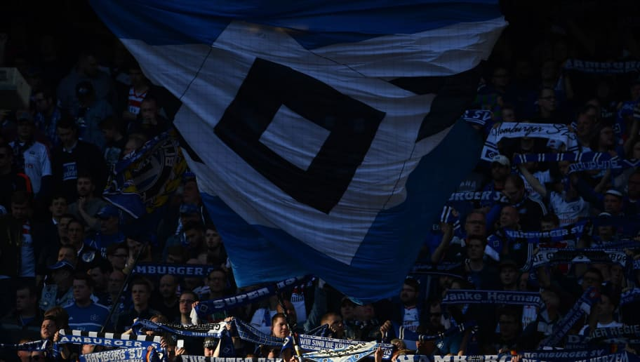 HAMBURG, GERMANY - APRIL 07:  Fans of Hamburg  show their support during the Bundesliga match between Hamburger SV and FC Schalke 04 at Volksparkstadion on April 7, 2018 in Hamburg, Germany.  (Photo by Stuart Franklin/Bongarts/Getty Images)